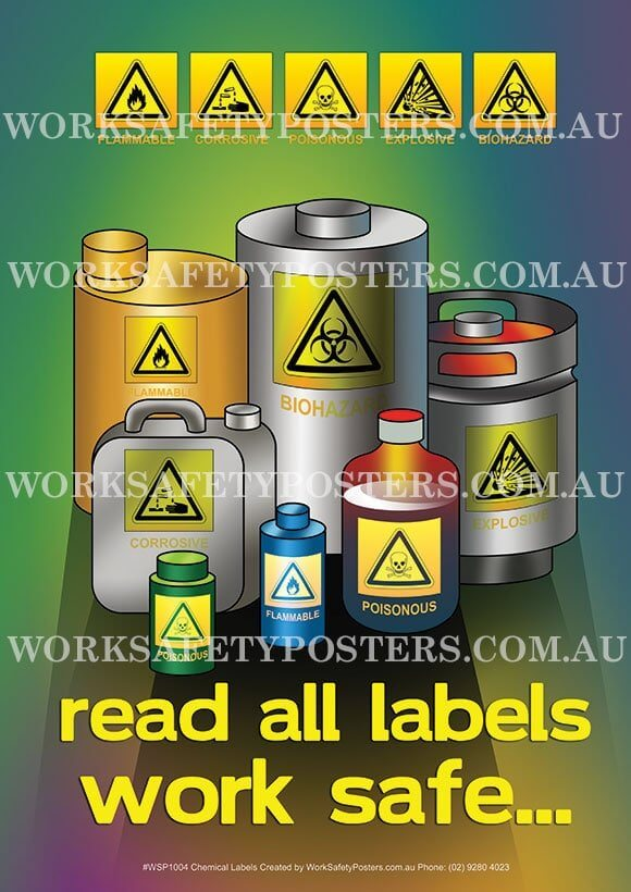 Read Chemical Labels Safety Poster - Safety Posters Australia