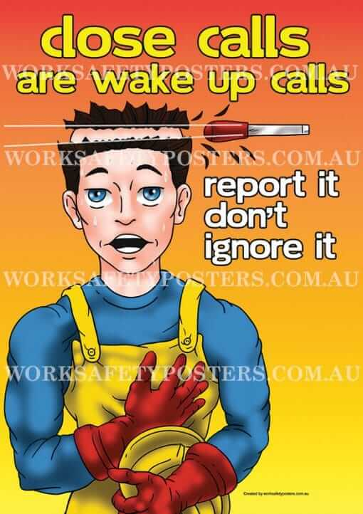 Report Near Miss Close Calls Work Safety Posters